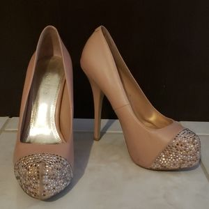 Genuine leather baby pink pumps